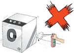 Do not use any inflammable chemical substance near an operating electrical appliance.